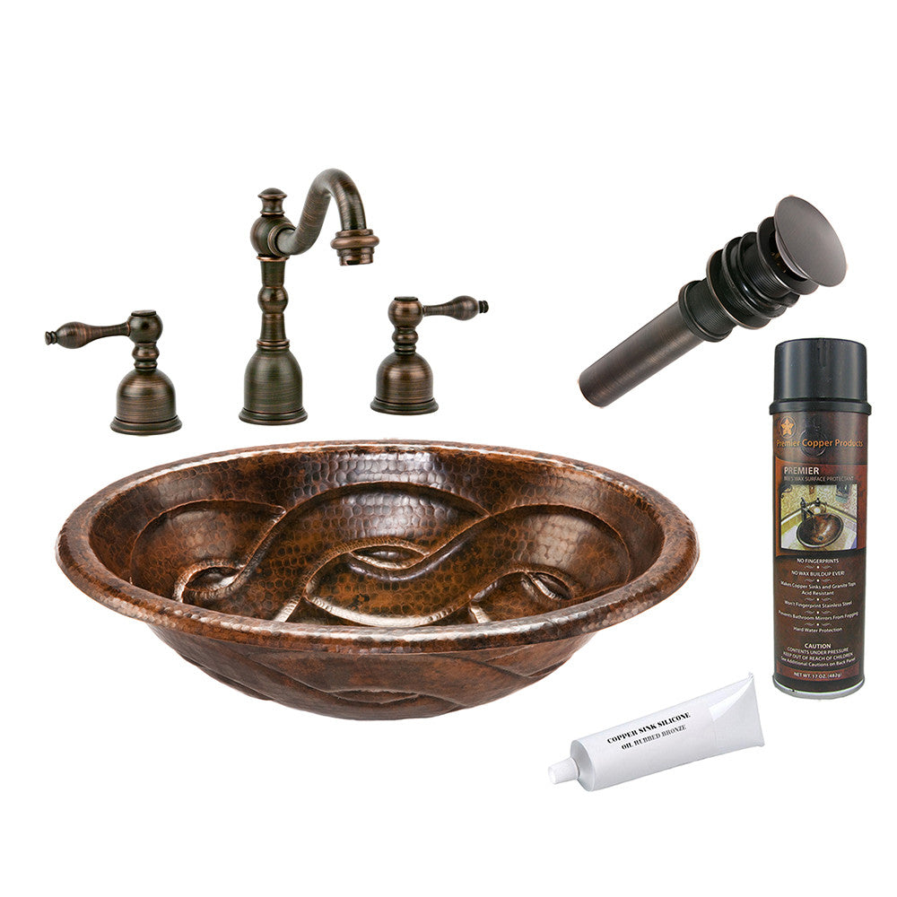 BSP2_LO19RBDDB - Oval Braid Self Rimming Hammered Copper Sink with ORB Widespread Faucet, Matching Drain and Accessories