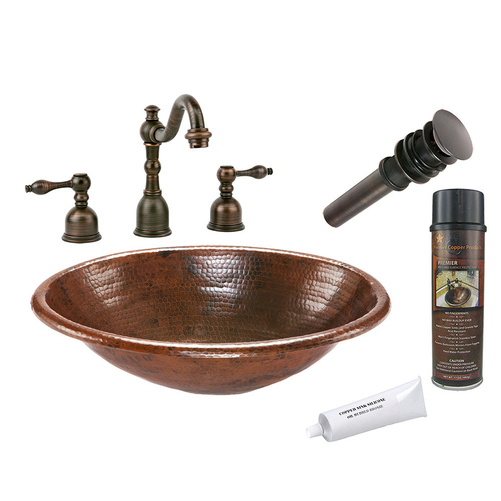 BSP2_LO19RDB - Oval Self Rimming Hammered Copper Sink with ORB Widespread Faucet, Matching Drain and Accessories