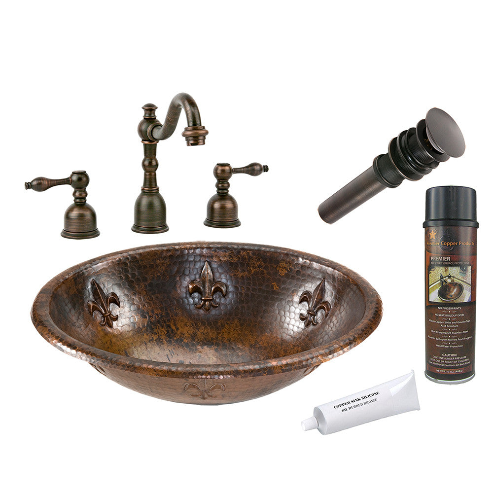 BSP2_LO19RFLDB - Oval Fleur De Lis Self Rimming Hammered Copper Sink with ORB Widespread Faucet, Matching Drain and Accessories