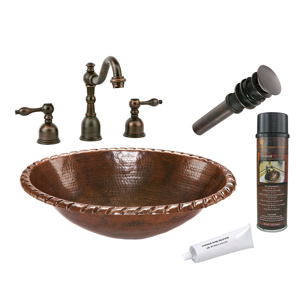 BSP2_LO19RRDB - Oval Roped Rim Self Rimming Hammered Copper Sink with ORB Widespread Faucet, Matching Drain and Accessories