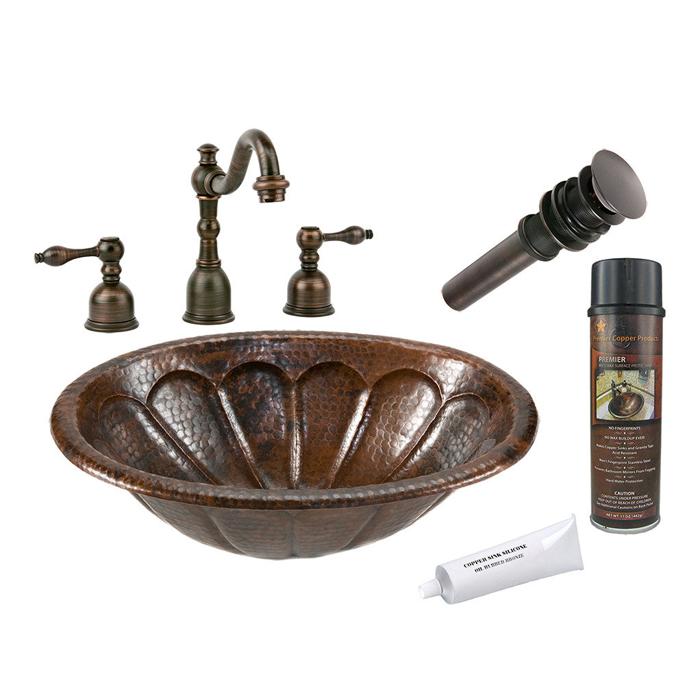 BSP2_LO19RSBDB - Oval Sunburst Self Rimming Hammered Copper Sink with ORB Widespread Faucet, Matching Drain and Accessories