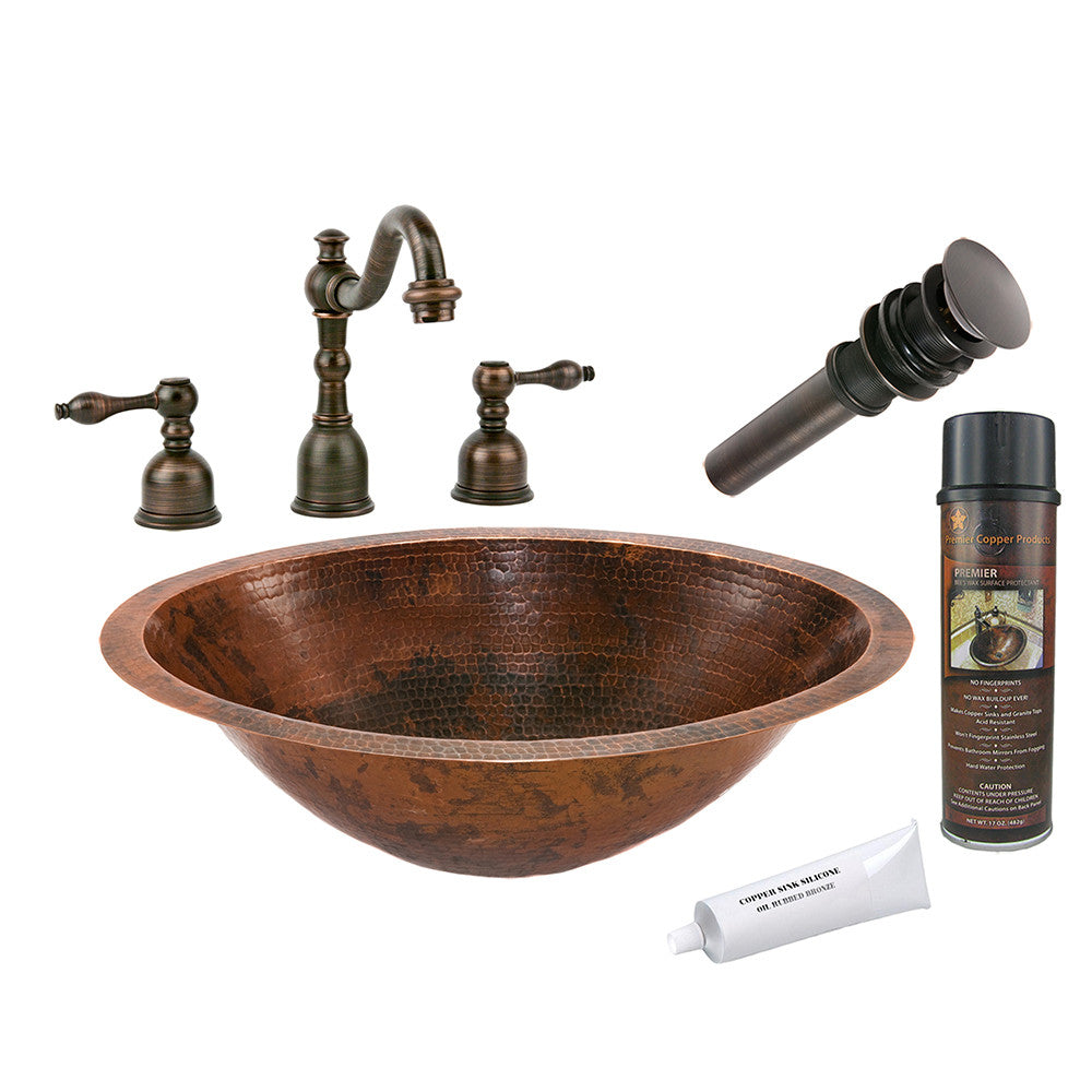 BSP2_LO20FDB - Master Bath Oval Under Counter Hammered Copper Sink with ORB Widespread Faucet, Matching Drain and Accessories