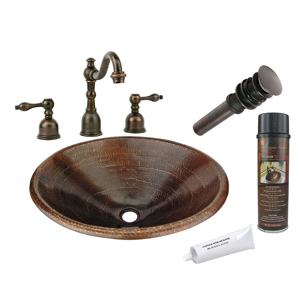 BSP2_LO20RDB - Master Bath Oval Self Rimming Hammered Copper Sink with ORB Widespread Faucet, Matching Drain and Accessories