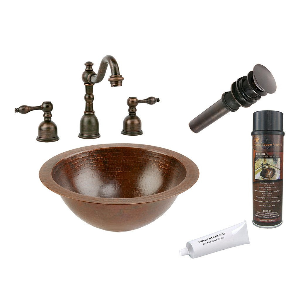 BSP2_LR12FDB - Small Round Under Counter Hammered Copper Sink with ORB Widespread Faucet, Matching Drain and Accessories