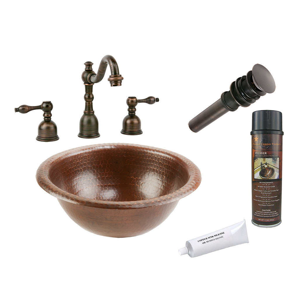 BSP2_LR12RDB - Small Round Self Rimming Hammered Copper Sink with ORB Widespread Faucet, Matching Drain and Accessories
