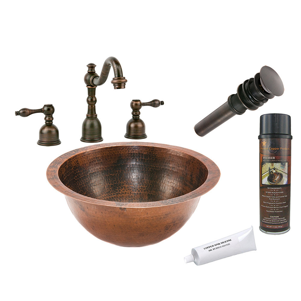 BSP2_LR14FDB - Small Round Under Counter Hammered Copper Sink with ORB Widespread Faucet, Matching Drain and Accessories