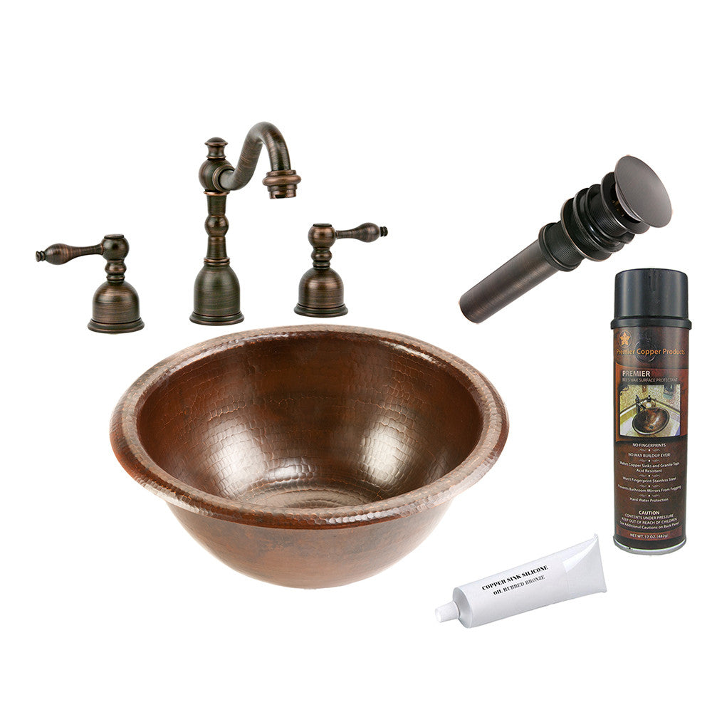 BSP2_LR14RDB - Small Round Self Rimming Hammered Copper Sink with ORB Widespread Faucet, Matching Drain and Accessories