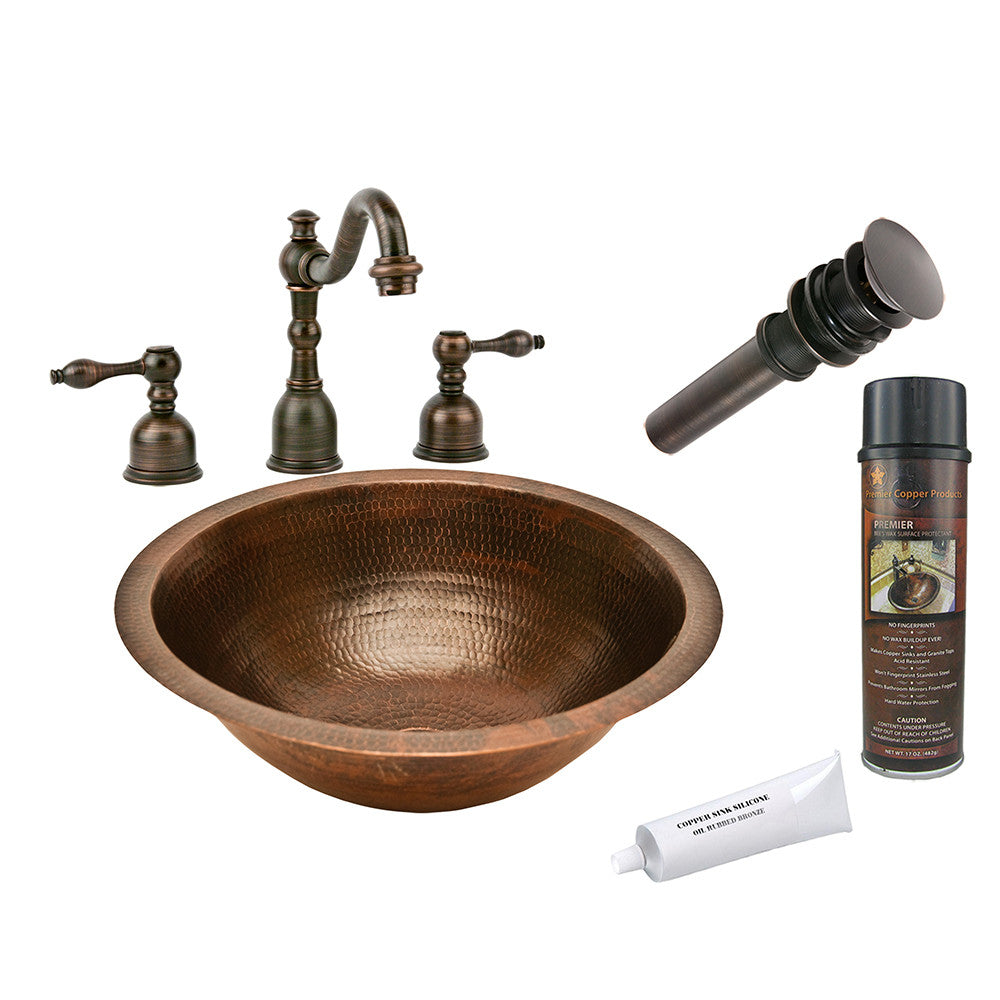 BSP2_LR17FDB - Round Under Counter Hammered Copper Sink with ORB Widespread Faucet, Matching Drain and Accessories