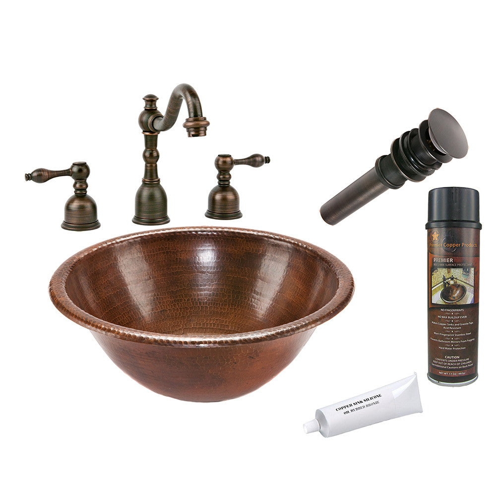 BSP2_LR17RDB - Round Self Rimming Hammered Copper Sink with ORB Widespread Faucet, Matching Drain and Accessories