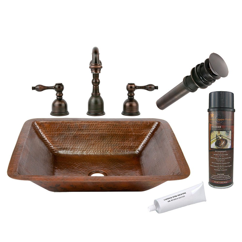 BSP2_LREC19DB - Rectangle Under Counter Hammered Copper Sink with ORB Widespread Faucet, Matching Drain and Accessories
