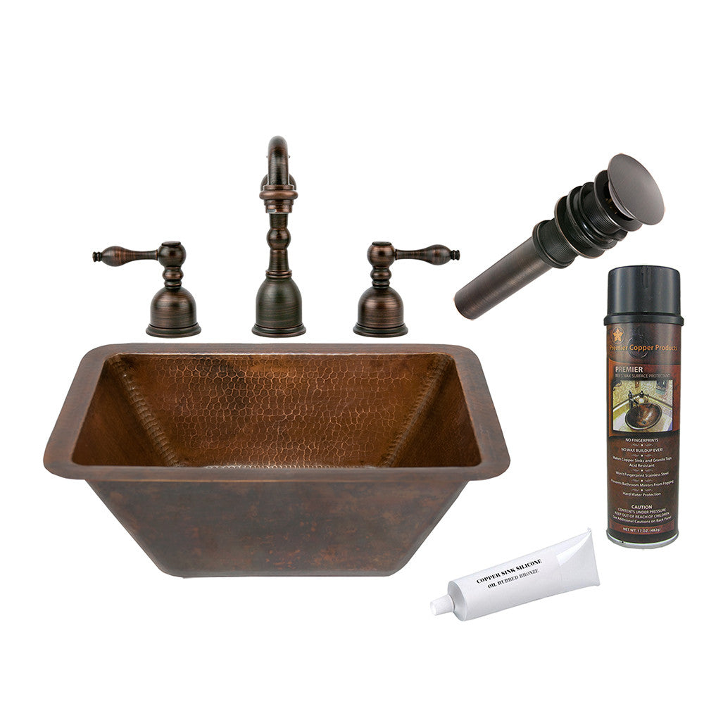 BSP2_LRECDB - Rectangle Hammered Copper Sink with ORB Widespread Faucet, Matching Drain and Accessories