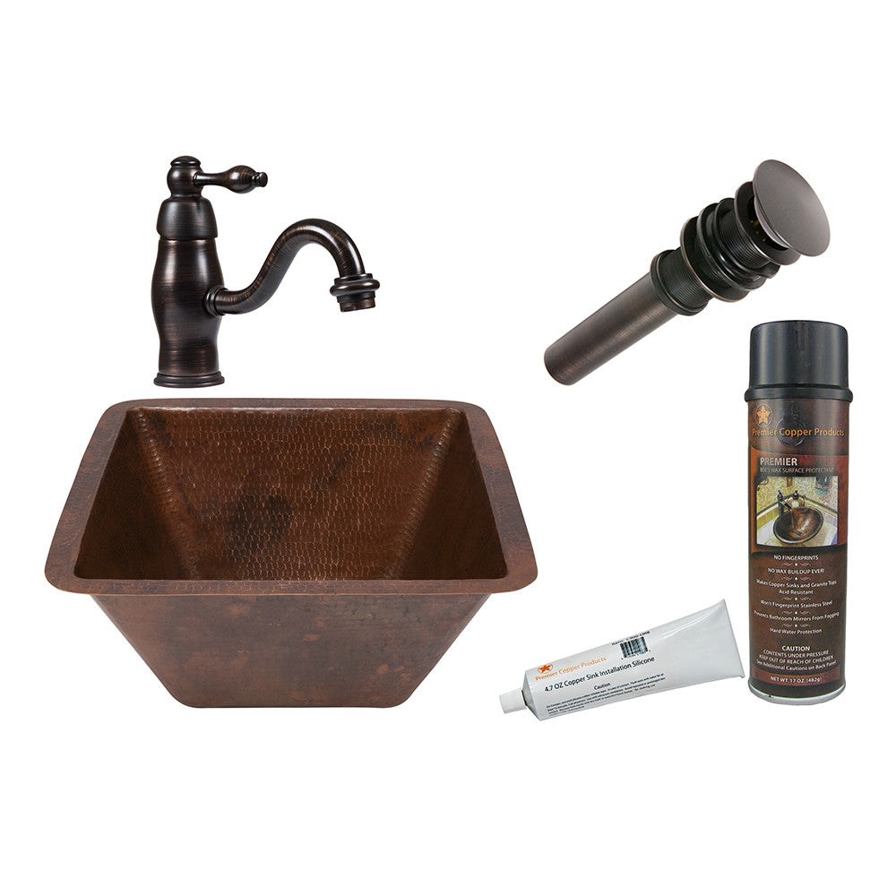 "LSQ15DB - 15"" Square Under Counter Hammered Copper Bathroom Sink"