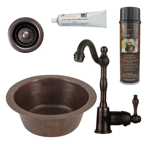 "12"" Round Hammered Copper Bar/Prep Sink, Single Handle Bar Faucet, Drain & Accessories"
