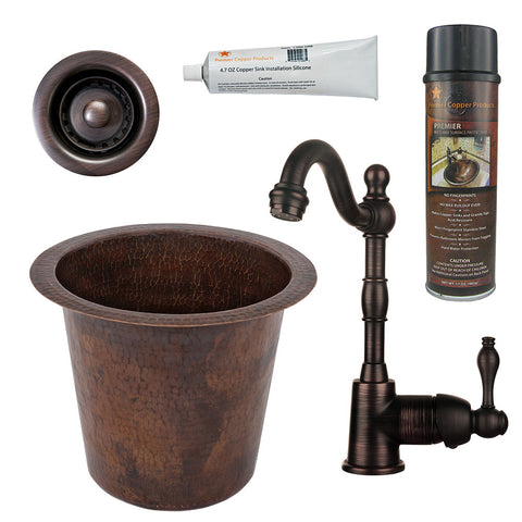 "12"" Round Hammered Copper Champagne Bar/Prep Sink, Single Handle Bar Faucet, Drain & Accessories"
