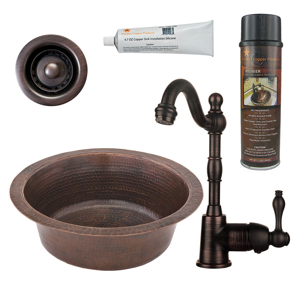 "14"" Round Hammered Copper Bar/Prep Sink, Single Handle Bar Faucet, Drain & Accessories"