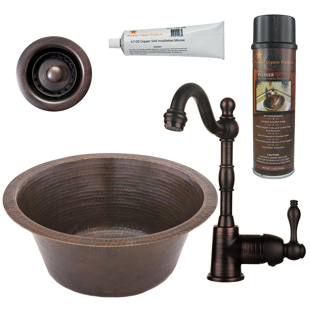 "16"" Round Hammered Copper Bar/Prep Sink, Single Handle Bar Faucet, Drain & Accessories"