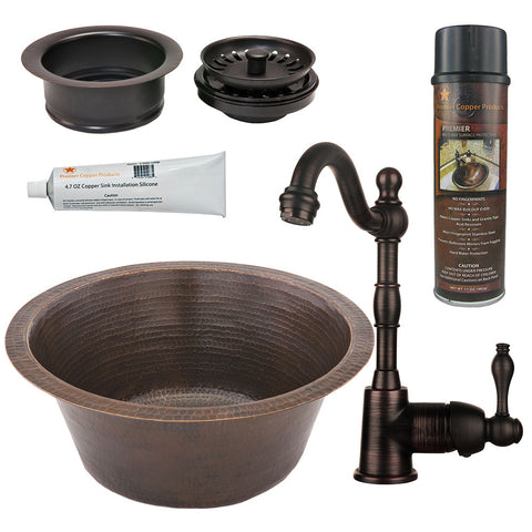 "16"" Round Hammered Copper Bar/Prep Sink, Single Handle Bar Faucet, Garbage Disposal Drain"