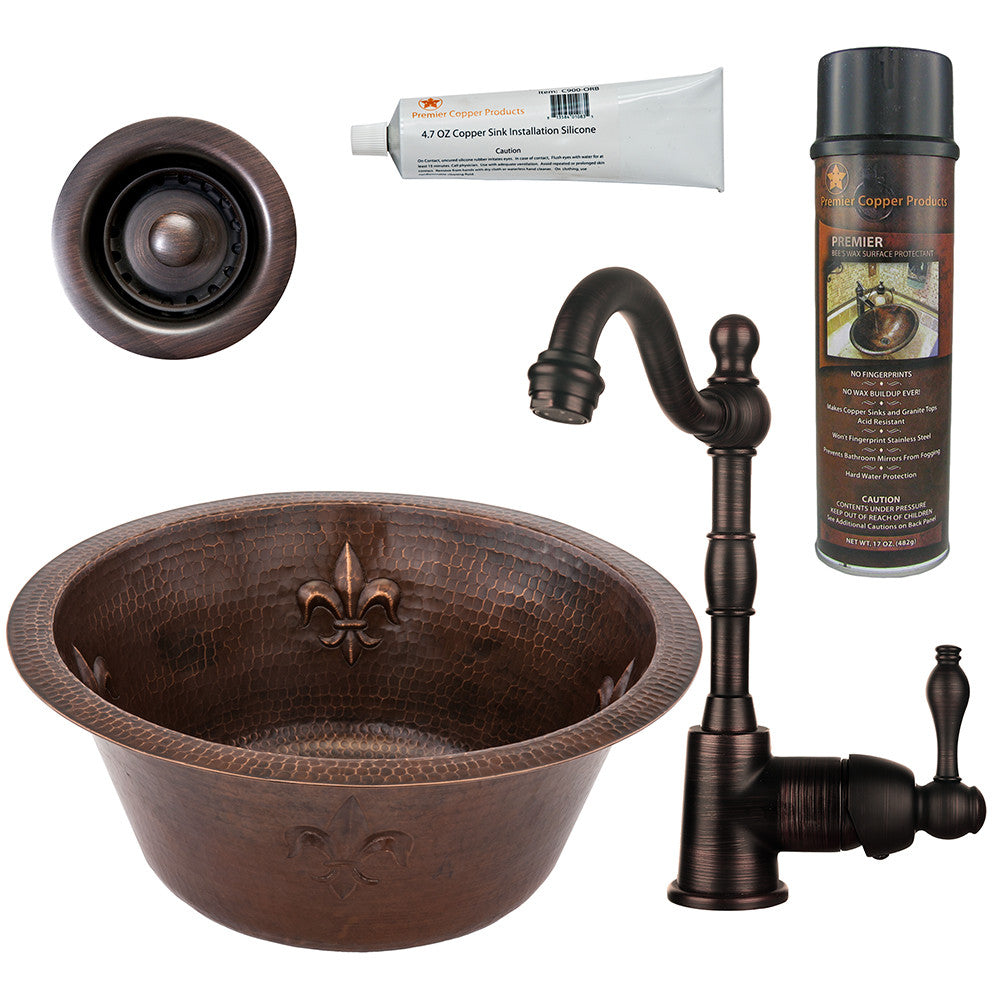 "16"" Round Copper Bar/Prep Sink W/ Fleur De Lis, Single Handle Bar Faucet, Drain & Accessories"