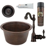 "17"" Large Round Hammered Copper Bar/Prep Sink, Single Handle Bar Faucet, Drain & Accessories"