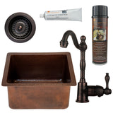 "16"" Gourmet Rectangular Hammered Copper Bar/Prep Sink, Single Handle Bar Faucet, Drain & Accessories"