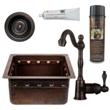 "16"" Gourmet Rectangular Hammered Copper Bar/Prep Sink w/ Barrel Strap Design, ORB Single Handle Bar Faucet, 3.5"" Strainer Drain and Accessories"