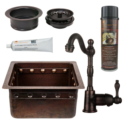 "16"" Gourmet Rectangular Hammered Copper Bar/Prep Sink w/ Barrel Strap Design, ORB Single Handle Bar Faucet, 3.5"" Garbage Disposal Drain and Accessories"