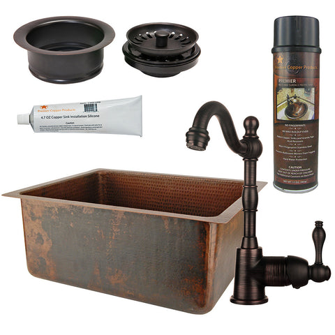 "20"" Hammered Copper Kitchen/Bar/Prep Single Basin Sink, Single Handle Bar Faucet, Drain & Accessories"