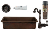 "28"" Rectangle Hammered Copper Bar/Prep Sink, ORB Single Handle Bar Faucet, 3.5"" Strainer Drain and Accessories"