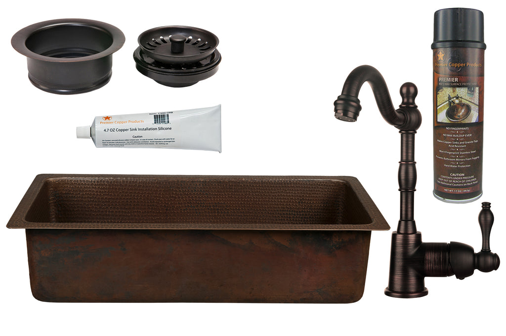 "28"" Rectangle Hammered Copper Bar/Prep Sink, 3.5"" Garbage Disposal Drain and Accessories"