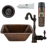 Rectangle Copper Bar/Prep Sink, ORB Single Handle Bar Faucet, Drain & Accessories