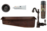 "28"" Rectangle Hammered Copper Slanted Bar/Prep Sink, ORB Single Handle Bar Faucet, 3.5"" Strainer Drain and Accessories"