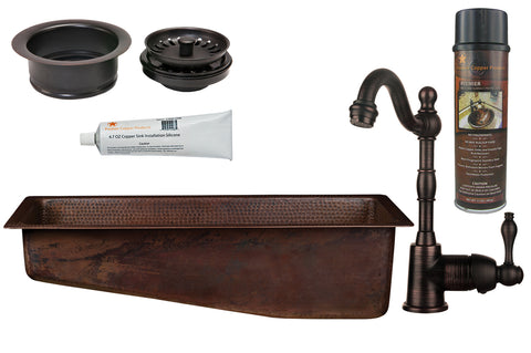 "28"" Rectangle Hammered Copper Slanted Bar/Prep Sink, ORB Single Handle Bar Faucet, 3.5"" Garbage Disposal Drain and Accessories"