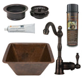 "15"" Square Hammered Copper Bar/Prep Sink, ORB Single Handle Bar Faucet, Drain & Accessories"
