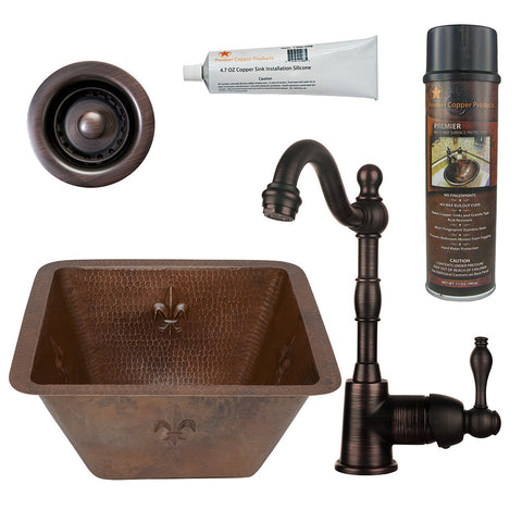 "15"" Square Fleur De Lis Copper Bar/Prep Sink, Single Handle Bar Faucet, Drain & Accessories"
