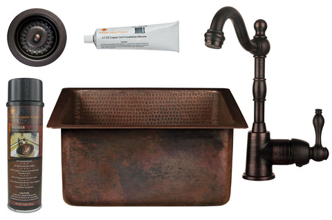 "16"" Square Hammered Copper Bar/Prep Sink, ORB Single Handle Bar Faucet, 3.5"" Strainer Drain and Accessories"