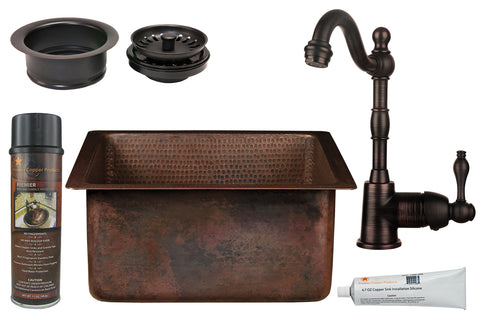 "16"" Square Hammered Copper Bar/Prep Sink, ORB Single Handle Bar Faucet, 3.5"" Garbage Disposal Drain and Accessories"