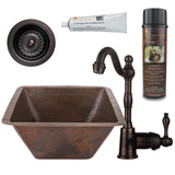 "17"" Large Square Hammered Copper Bar/Prep Sink, Single Handle Bar Faucet, Drain & Accessories"