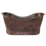 "Premier Copper Products BTD67DB - 67"" Hammered Copper Double Slipper Bathtub"
