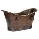 "Premier Copper Products BTDR60DB - 60"" Hammered Copper Double Slipper Bathtub With Rings"