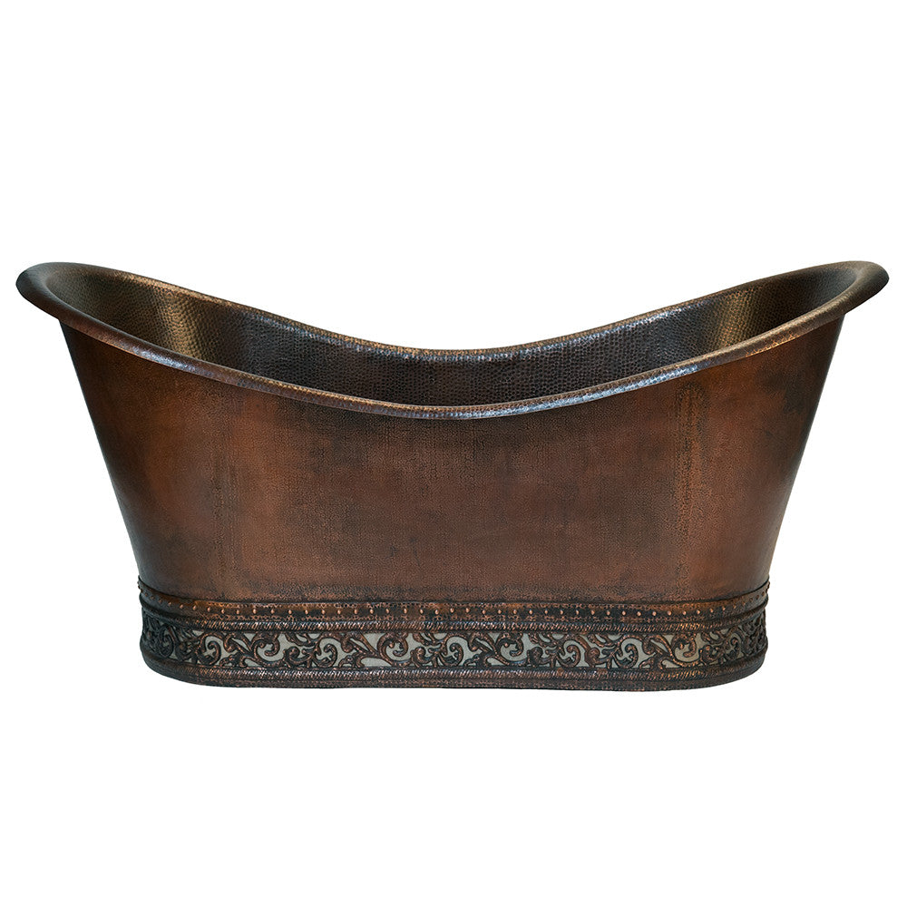 "Premier Copper Products BTN67DB - 67"" Hammered Copper Double Slipper Bathtub with Scroll Base and Nickel Inlay"