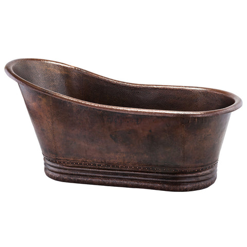 "Premier Copper Products BTS67DB - 67"" Hammered Copper Single Slipper Bathtub"
