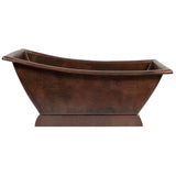 "Premier Copper Products BTSC67DB - 67"" Hammered Copper Canoa Single Slipper Bathtub"
