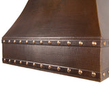 "36"" Hand Hammered Copper Wall Mounted Correa Range Hood"