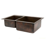"K40DB33229- 33"" Hammered Copper Kitchen 40/60 Double Basin Sink"