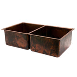 "K50DB33199- 33"" Hammered Copper Kitchen 50/50 Double Basin Sink"