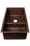 "33"" Hammered Copper Kitchen 60/40 Double Basin Sink with Short 5"" Divider"