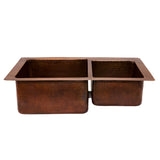 "K60DB33229- 33"" Hammered Copper Kitchen 60/40 Double Basin Sink"