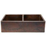 "KA50DB33229 - 33"" Hammered Copper Kitchen Apron 50/50 Double Basin Sink"