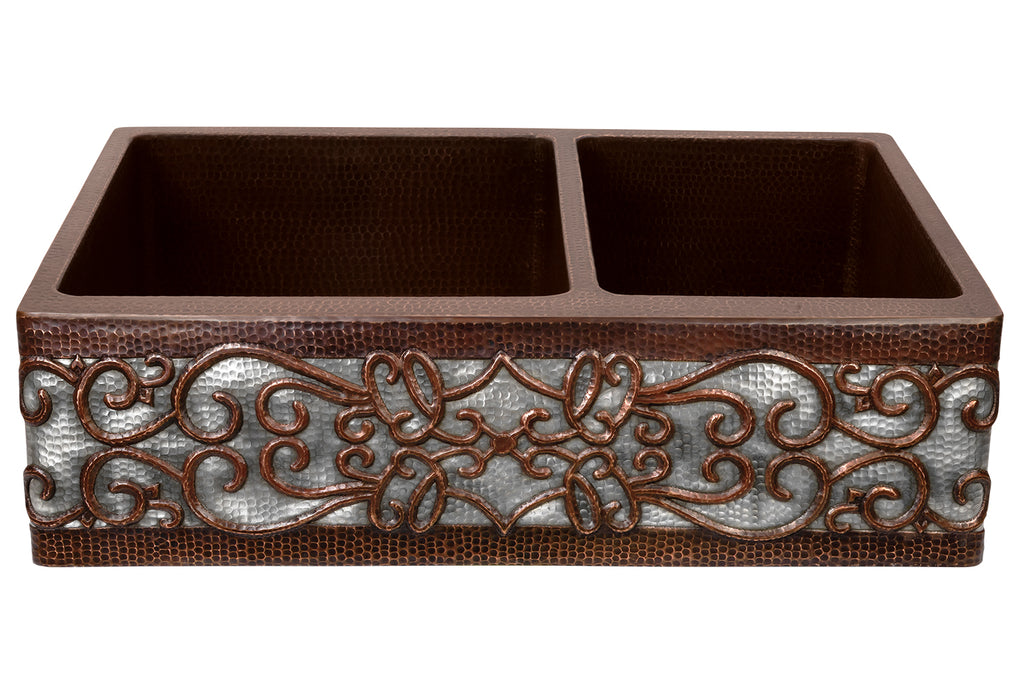 "33"" Hammered Copper Kitchen Apron 60/40 Double Basin Sink w/ Scroll Design and Apron Front Nickel Background"