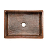 "KASDB30229 - 30"" Hammered Copper Kitchen Apron Single Basin Sink"